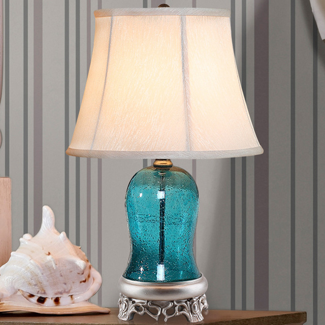 Luxury 56cm High Blue Bubble Glass Table Lamp Fabric Lampshade Living Room  Abajur Table Lamp For