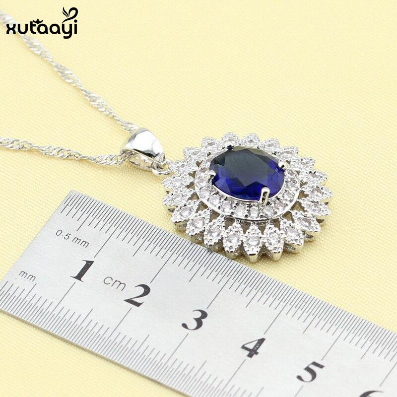 XUTAAYI Mavi Cubic Zirconia AAA Keyfiyyətli 925 Gümüş zərgərlik - Moda zərgərlik - Fotoqrafiya 3