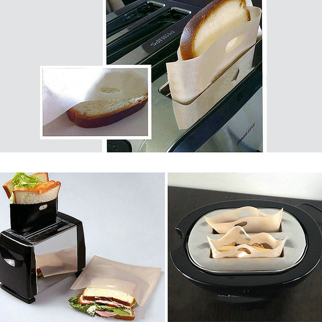 Hot Sale 1/2pcs Toaster Bags for Grilled Cheese Sandwiches Made Easy Reusable Non-stick Baked Toast Bread Bags Home Supplies 1