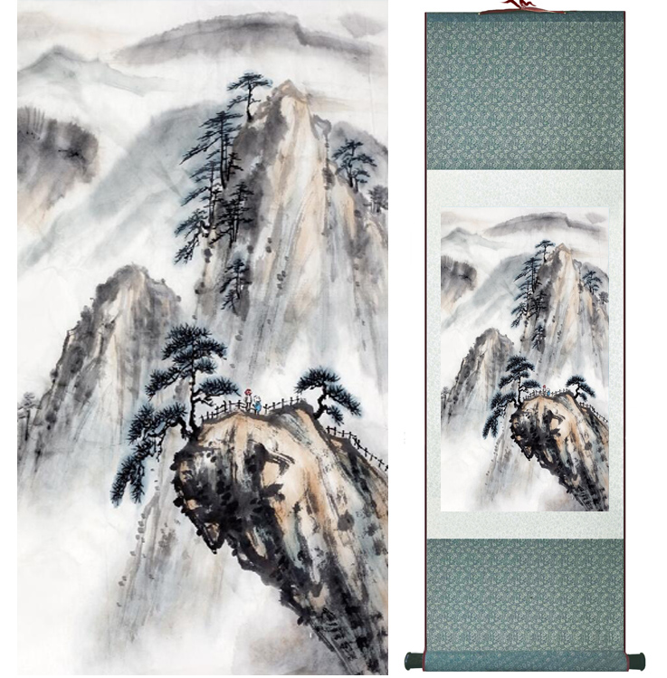 landscape painting Home Office Decoration Chinese scroll painting mountain and River paintingPrinted painting042208