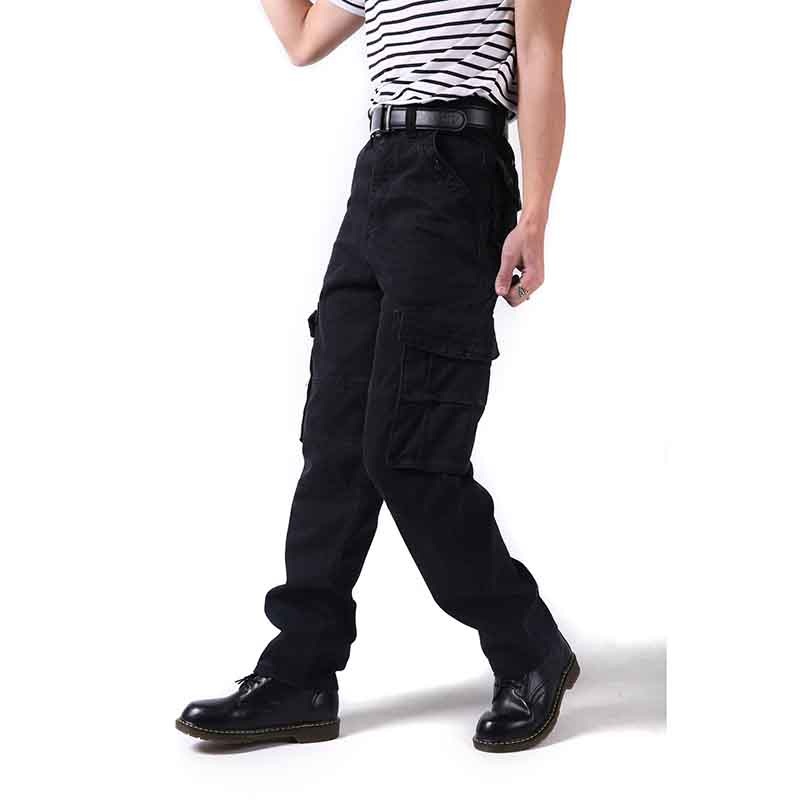 Large Size 46 Men Cargo Pants With Pockets Loose Military Hip Hop Board Pants Casual Black Trousers YH