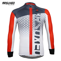 ARSUXEO Long Sleeve Cycling Jersey Man Motocross Jersey Breathable MTB Clothes Bicycle Clothing Quick Drying Downhill Jersey