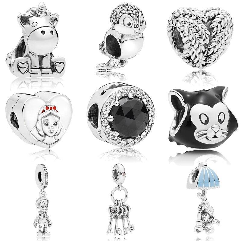 MYBEBOA NEW 925 Sterling Silver Unicorn Cute Animal Seven Dwarfs White Snow Charms fit Original Pandora Bracelet Beads Jewelry snow white and the seven dwarfs