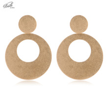 Badu Big Round Earring Women Punk Gold Stud Earrings Hollow Out Vintage Alloy Fashion Jewelry Gift for Girls цены онлайн