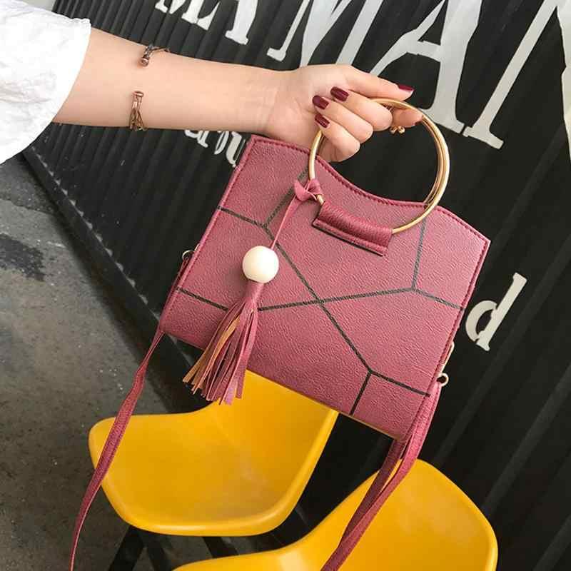 Mulheres de Couro PU Floral Impresso Tassel Bolsa Bolsa de Ombro Crossbody Saco Da Forma Das Senhoras Viagens Shopping Bag Preto Vermelho