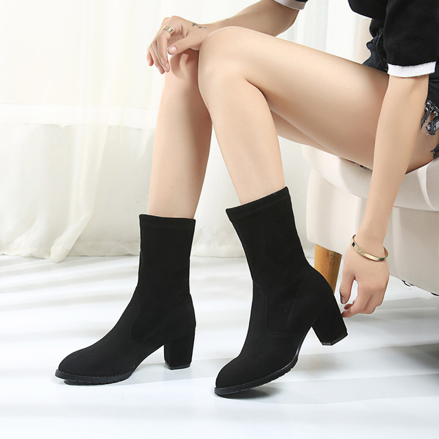 Boussac Stretch Fabric Sock Boots Women Sexy Pointed Toe
