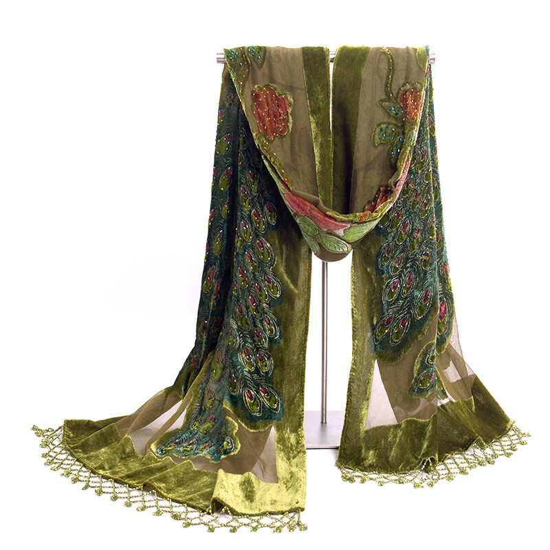 Fashion Green Women's Velvet Silk Beaded Embroidery Shawl   Scarf     Wrap     Scarves   Peafowl Mujer Bufanda Chal Size 50 x 190 cm Jsh001D