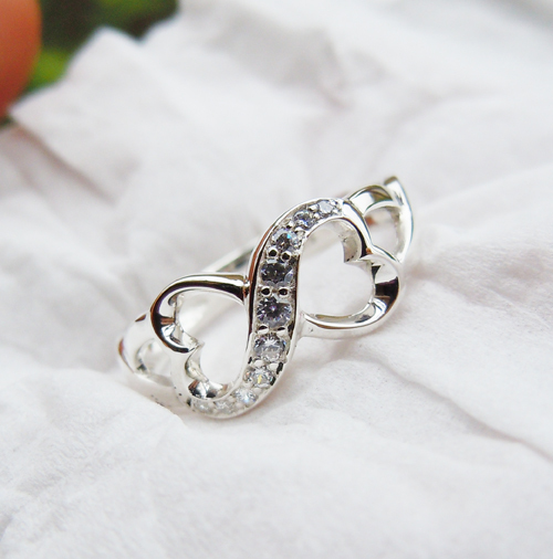 Womens Solid 925Sterling Silver&CZ Stones Infinity Ring