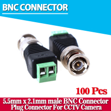 100Pcs Mini Coax CAT5 Male BNC Connector To Camera CCTV BNC Video Balun Connector Adapter