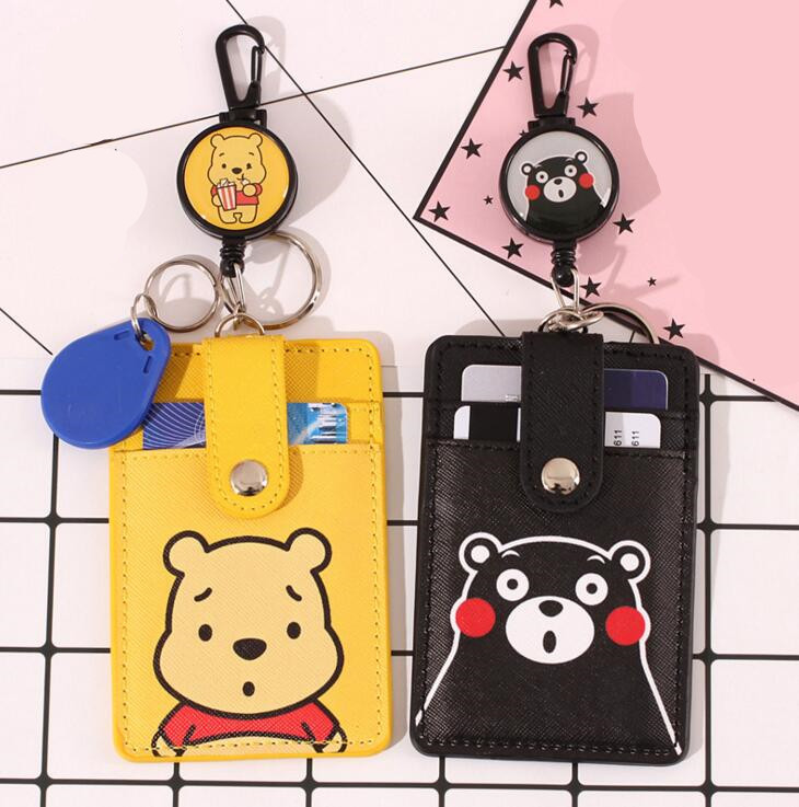 Cartoon Leather ID Credit Card Case Badge Holder Anti-lost Retractable Keychain