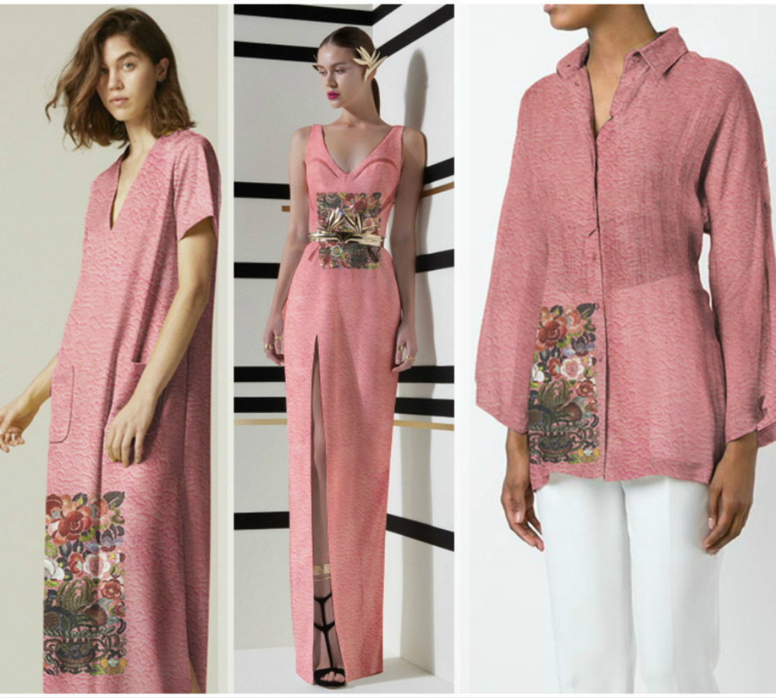 Fashion silk linen fabric blended moire wrinkle print shirt dress slightly through clothing cloth summer positioning