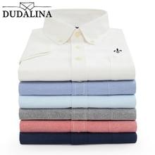 DUDALINA, мужская рубашка с коротким рукавом, новая оксфордская Однотонная рубашка, мужская повседневная модная рубашка с отложным воротником, размер M-5XL