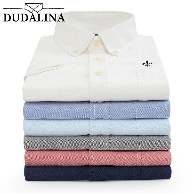 DUDALINA Camisa de Manga Curta dos homens NOVO Oxford Homens Camisa de cor sólida Moda Casual Turn-Down Collar Camiseta Pluss tamanho M-5XL