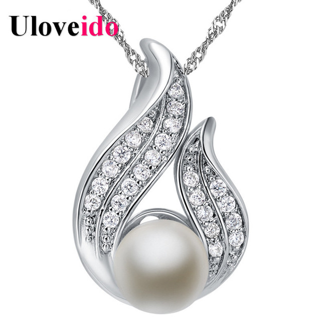 50%off Simulated Pearl Big Necklace Women Silver Color Jewelry Women's Necklaces & Pendants 2017 Fashion Jewelry Uloveido N911