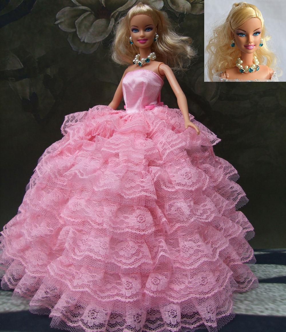 2 items=1dress+1 set accessories(1pair earing+1necklace) little girls's gift luxurious wedding dress for barbie doll 1