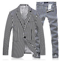 Autumn New Men's Striped Suit Jackets and Suit Trousers Business Wedding Men Blazers and Suit Pants Size S-4XL