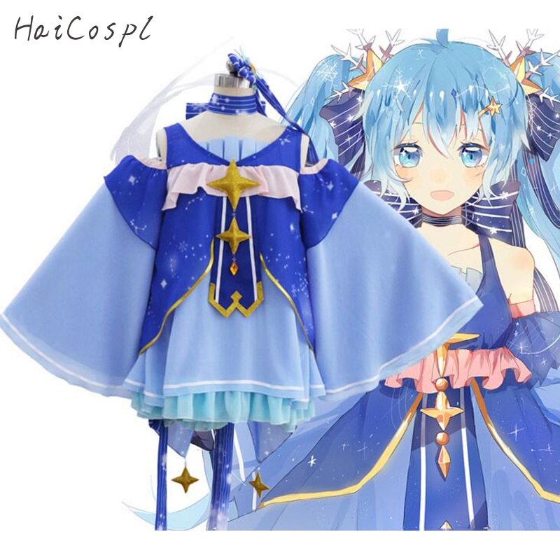 Snow Miku Cosplay Costume Anime Dress For Girls Japanese Kawaii Style Lolita Fancy School Party Show Student Dancing Dresses anime cosplay lace lolita flower print halloween fancy dress gallus japanese kimono costume