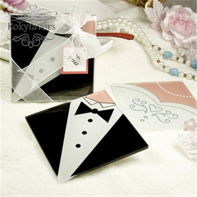 Free Shipiing 30pcs 15sets Bride And Groom Glass Coaster Wedding