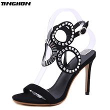 TINGHON Summer Fashion Women Sexy Black Gladiator Sandal Strap Pumps High Heel Shoes rhinestone pumps Sandals 2016 handmade high heel sandal women gladiator butterfly sandals colorful wedding party bridal shoes prom pumps