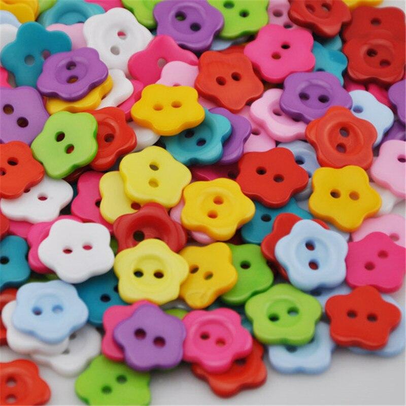 50/100 шт., пластиковые пуговицы с цветами, 16 мм