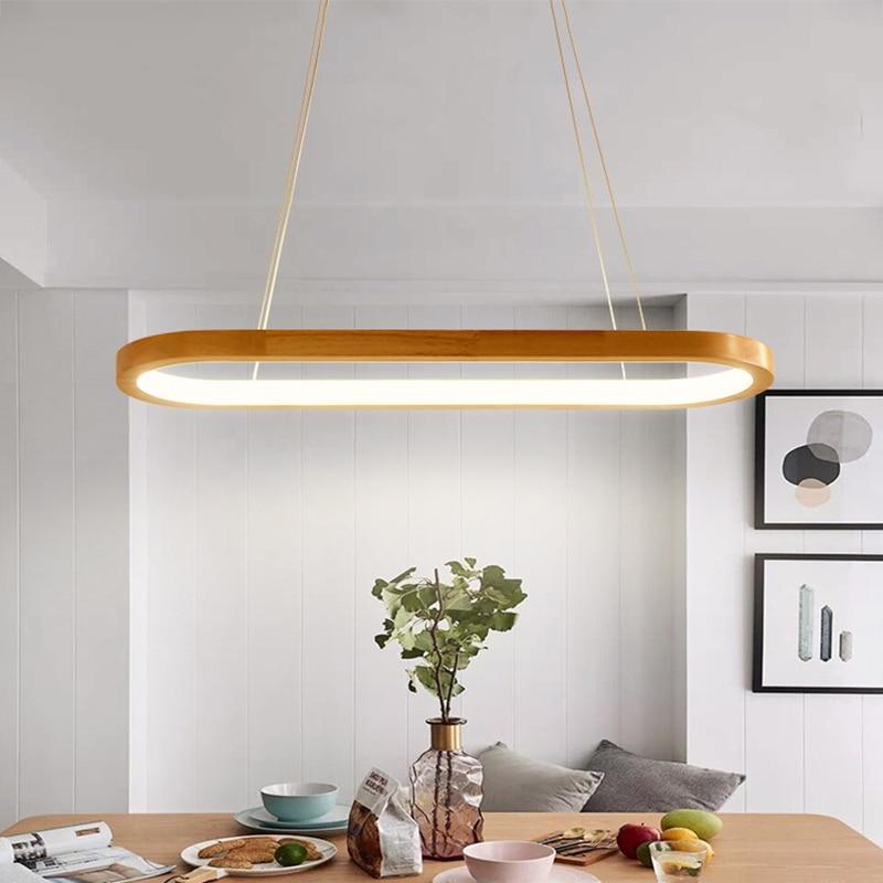 Modern Square Pendant Light Led Pendant Lamp Wood Haning Lights Dining Living Room Bedroom Kitchen Nordic Suspension Luminaire