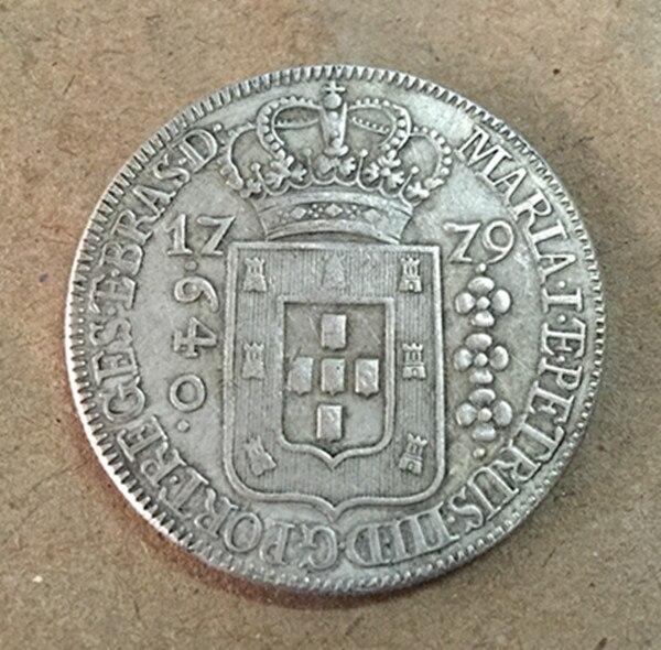 1779 Бразилия 640 Reis-Мария я и Педро III Silver КОПИЯ монета