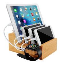 Bamboo Charging Station for iPad Stand Desktop Organizer Tablet Cellphone Holder Cord Multi-Devices