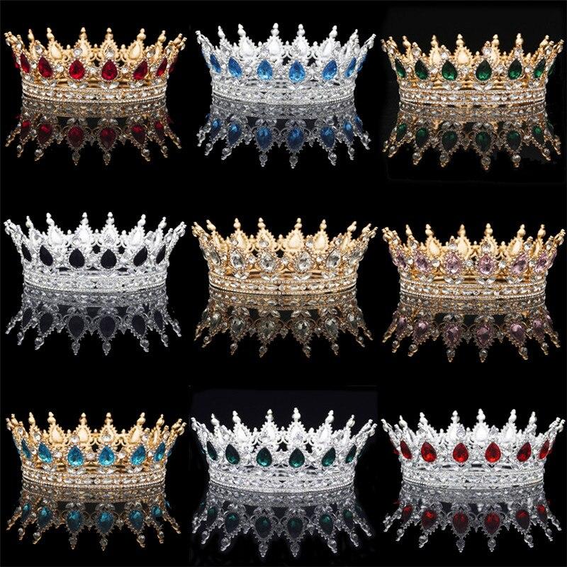 Ouro/Prata Tiaras De Cristal Barroco Rodada Clássico Coroa Diadema Real Rainha Coroas Do Rei do baile de Finalistas Do Cabelo Do Casamento Acessórios de Jóias