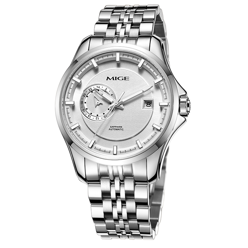 2017 new Sale Automatic Man Watch Relogio Waterproof Skeleton Steel Watchband Saphire Dial White Mechanical Mans Wristwatches