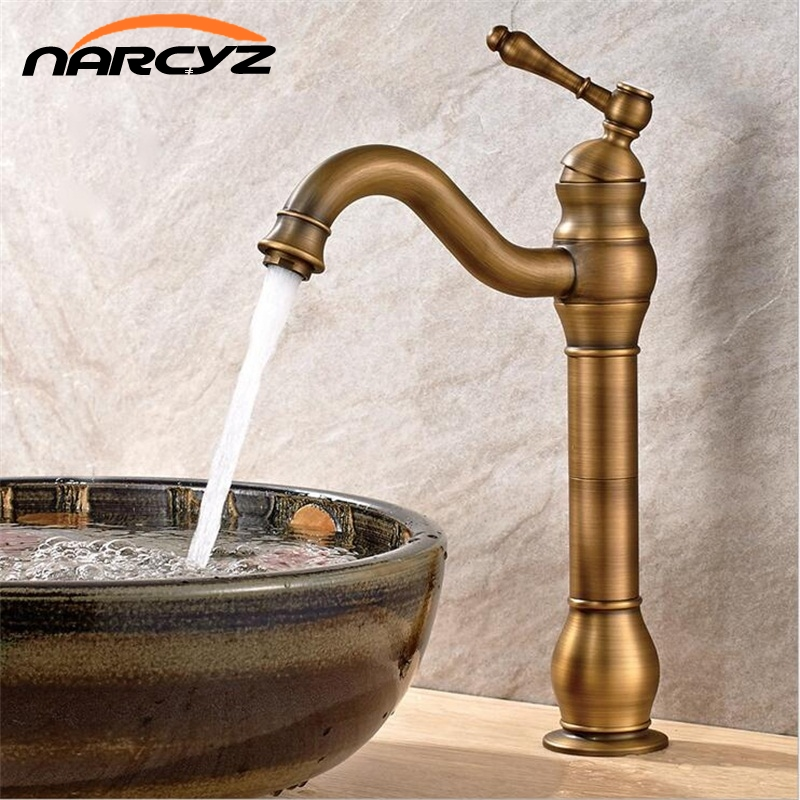 Robinets de bassin Antique 1 trou de levier robinet de bassin Plus haut bassin plus haut chaud et froid cuivre plein de robinet européen XT922
