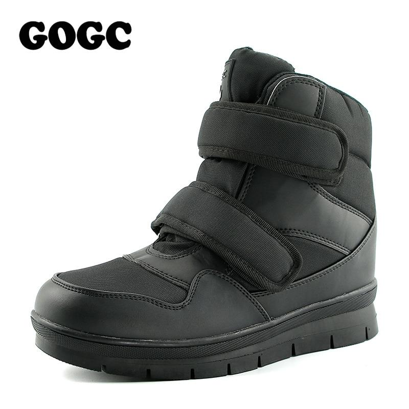 GOGC теплые Мужские зимние сапоги зимние ботинки брендовая Нескользящая зимняя Мужская обувь Высокое качество Для мужчин обувь зимние ботил...