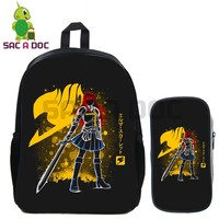2 Pcs/set Fairy Tail Fluorescence School Bag Anime Natsu Erza Gray Happy Backpack for Teenage Boys Girls Travel Shoulder Bags