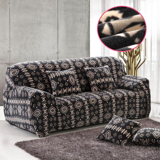 Us 43 37 Sofa Slipcovers Stretch Sectional Sofa Covers For 1 2 3 4 Seater Soft Flannel Slipcovers Elastic Couch Cover Furniture Covers In Sofa Cover