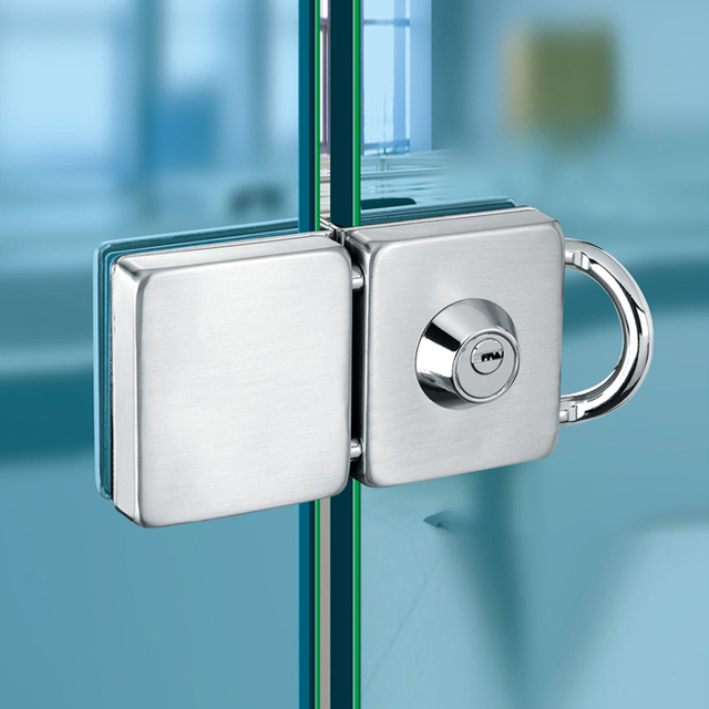 Double Glass Door Lock 304 Stainless Steel Single Open Frameless Hasps For 10 12mm