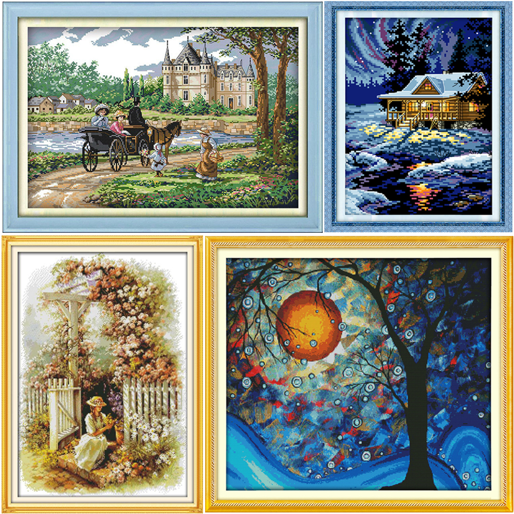 Teltkors Stitch Kit Klassisk Landskap Mønster DMC Stamped Cross-Stitch DIY Sy Hånd Broder Kit Needlework Set Needles