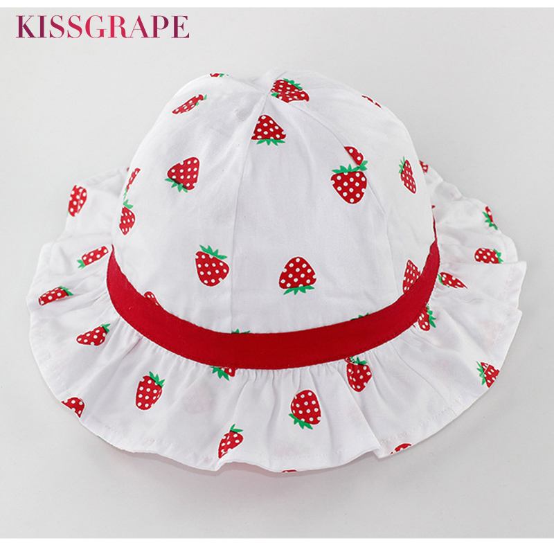 New Baby Girls Sunhats Summer 2018 Spring Kids Cotton Breathable Outdoor Hiking Travling Bucket Hats Childrens Strawberry Caps