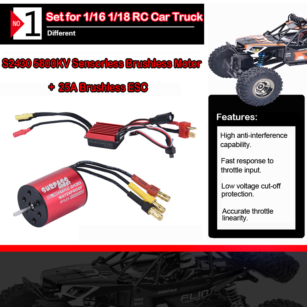 Waterproof 3650 4300KV Brushless Motor + <font><b>25A</b></font> <font><b>ESC</b></font> Speed Controller for RC Car RC Car Parts Brushless Motor RC Car truck W610 image