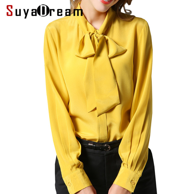 b887b2a49be86 Women SILK SHIRT 100%Natural silk Bow Collar Long sleeved casual Shirt 2018  Fall Winter