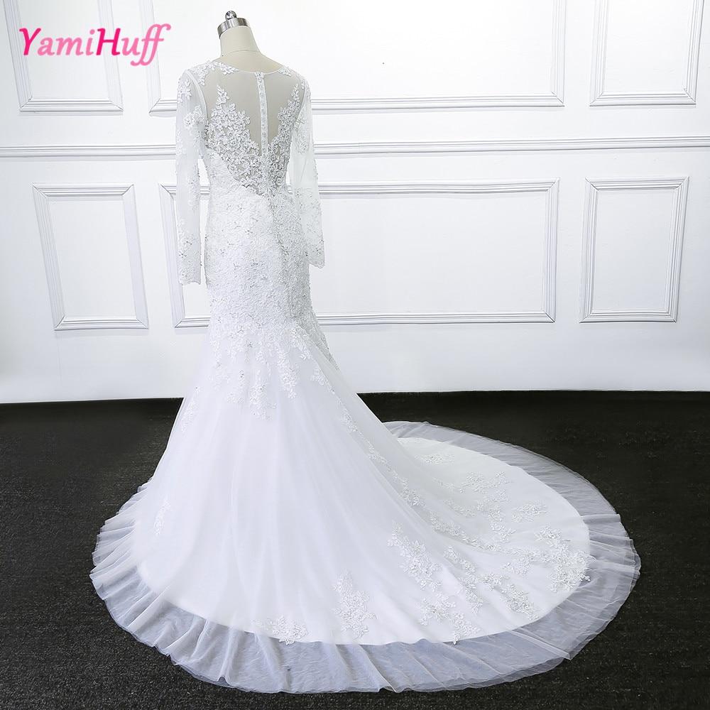 Mermaid Brautkleider Spitze Langarm Weißen Kleid Indische Country ...