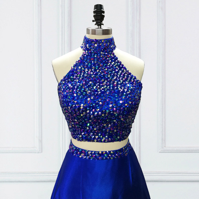 Jieruize Royal Blue 2 Piece Prom Dresses High Neck A Line Crystals
