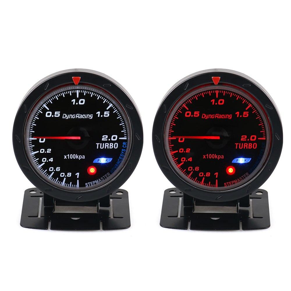Dynoracing 60 мм Автомобильный турбонаддув манометр красный и белый освещение бар Тип Черный лицо автомобиля манометр автомобиля с датчиком BX101467
