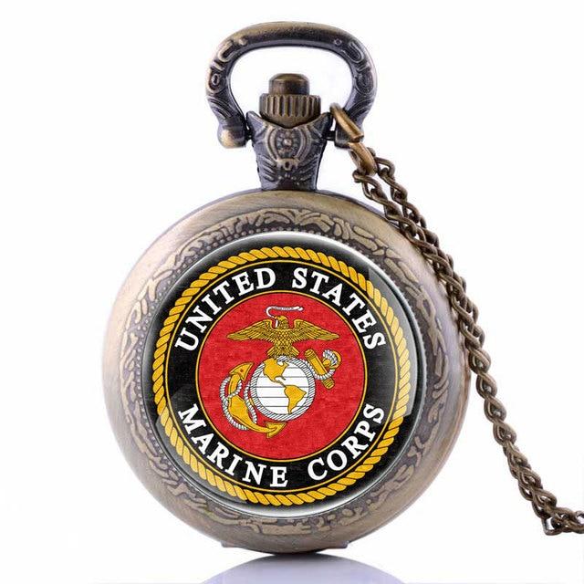 Veterans Day Army USMC United States Marine Corps Pocket Watch Bronze Black Silv