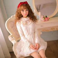 Princess sweet lolita dress Candy rain pearl beads chain flower snowflake Rabbit hair fur pom stand collar lace dress C16CD6115