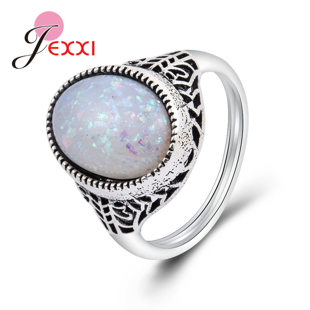JEXXI Retro Style Jewelry 925 Sterling Silver Antique White Opal Stone Hollow Design Women Finger Fashion Jewelry for Party