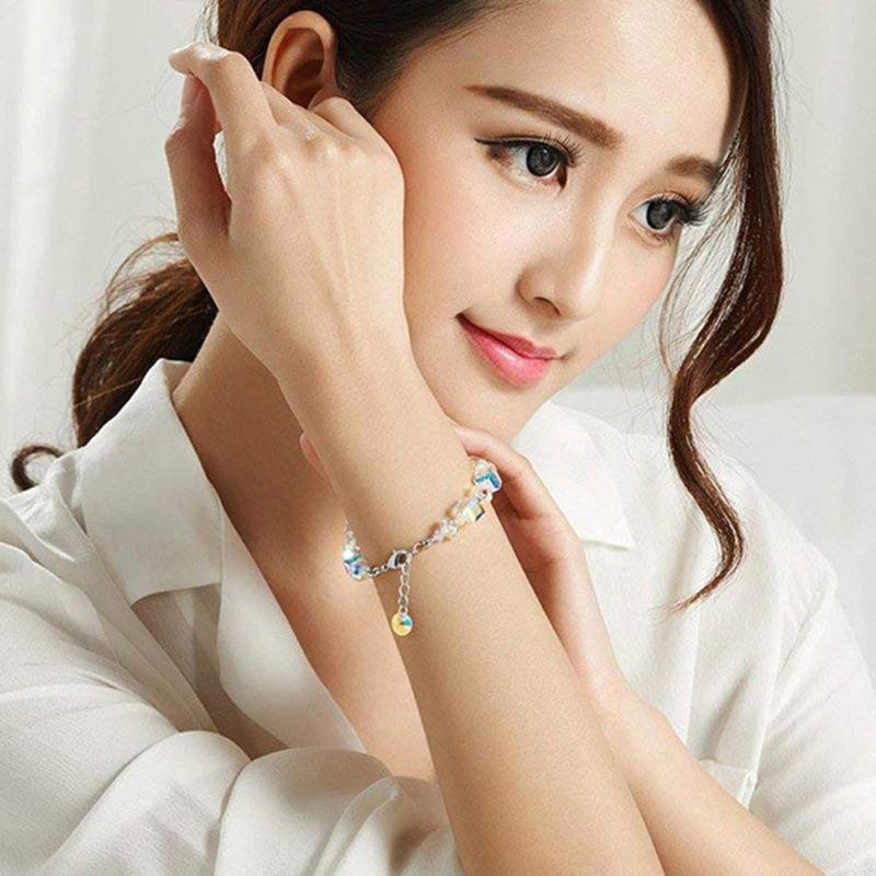 Luxury Exquisite Aurora Square Geometric Polygon Bead Crystals Bracelet Women Females Tennis Bracelet Charm Jewelry Accessory 3