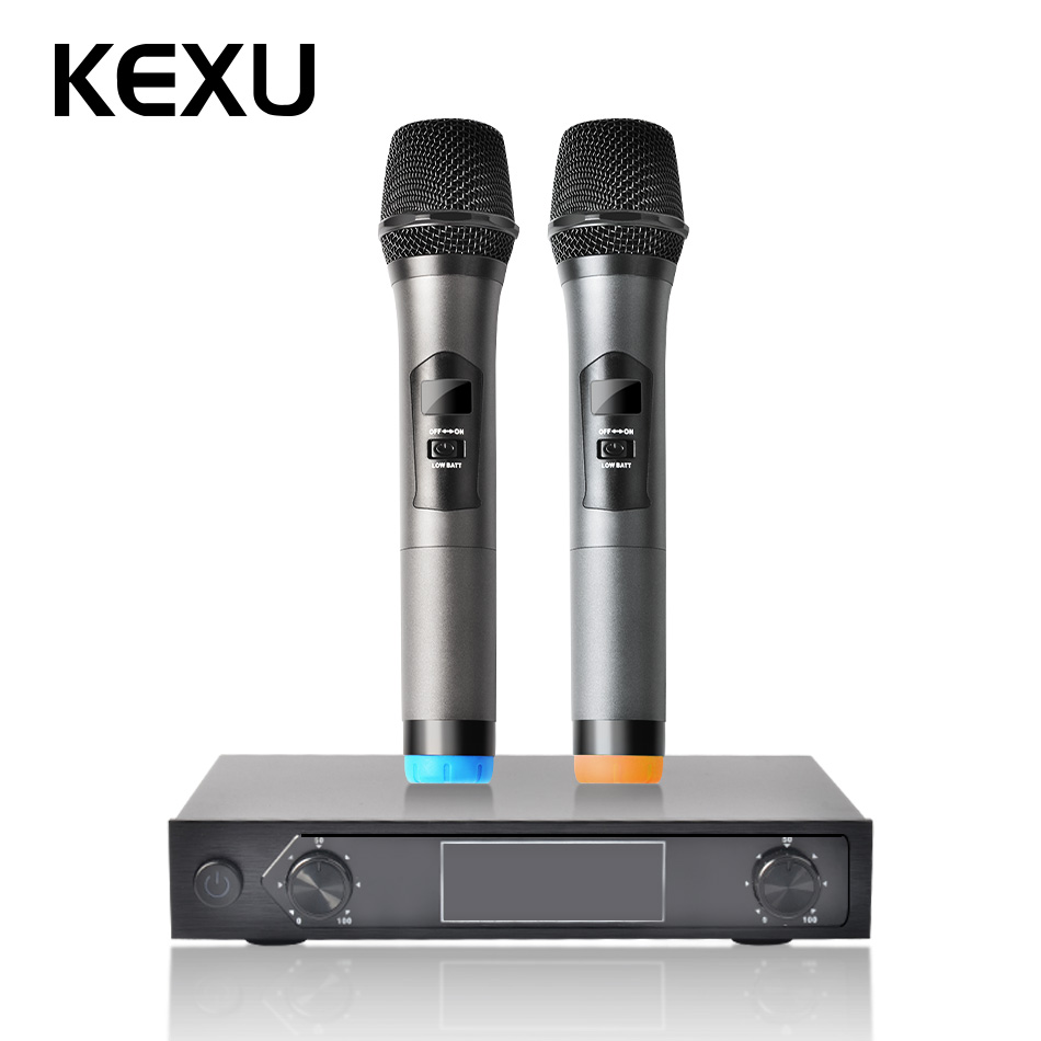 Kexu Professional Wireless Microphone Ktv Karaoke Digital Led Display Handheld Style Multifunctional Microphone With Receiver Fast Color