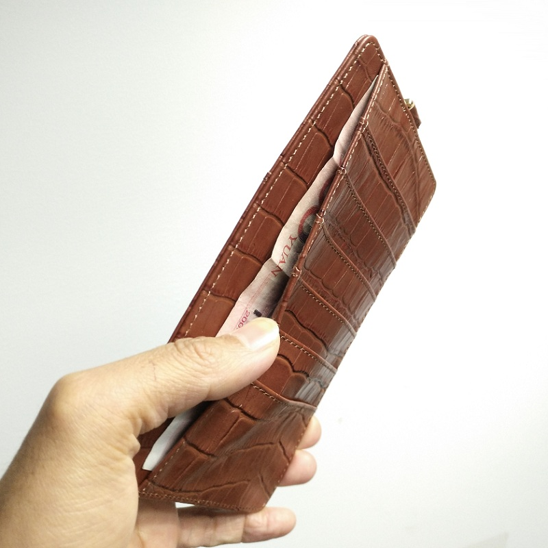brown genuine leather strap card wallet pouch case for iPhone x xs max