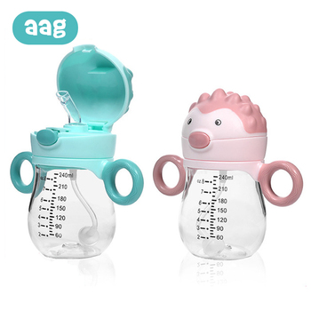 AAG 240ML Baby Water Bottle With Straw BPA Free Tritan Children Feeding Sport Drink Cup Baby Learn Training Bottle Drinker * baby feeding water bottle portable no spill cup my plastic bottle children s small kettle with straw food grade slide cover copo