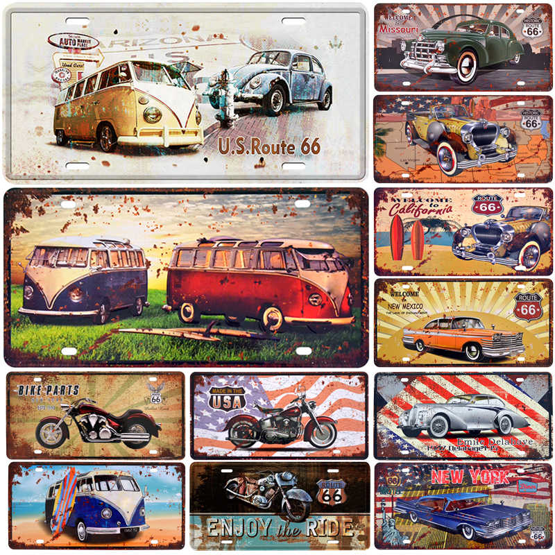 Bus Motorcycle Car Metal License Plate Vintage Home Decor Tin Sign Bar Pub Garage Decorative Metal Sign Metal Painting Plaque