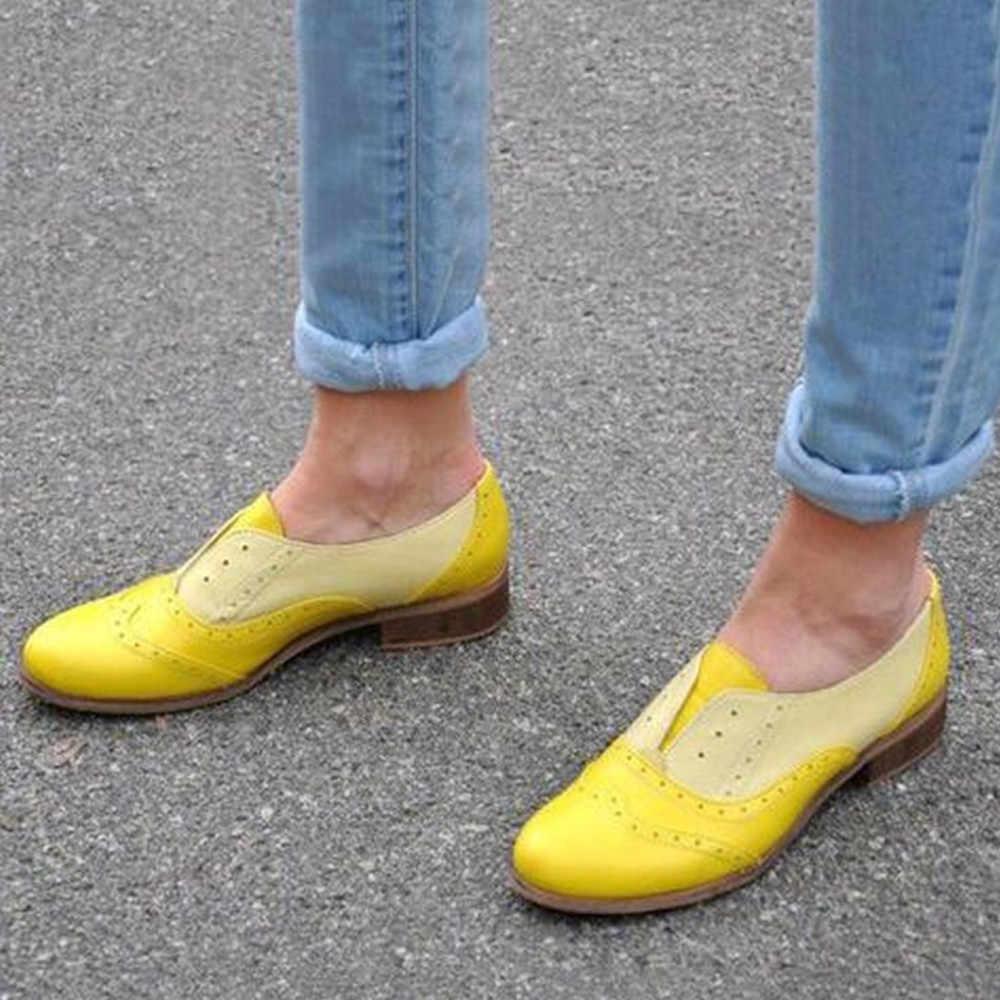 YOUYEDIAN Frauen Runde Kappe Flache Schuhe Leder Booties Slip-Auf Platz Ferse Einzelnen Schuhe zapatos de mujer con tacon fiesta con #3